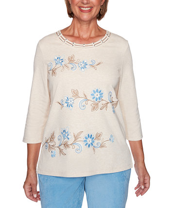 Petite Dover Cliffs Floral Scroll Biadere Embroidered Top Alfred Dunner