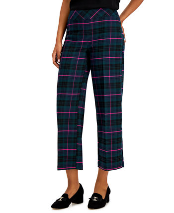 Plaid Wide-Leg Cropped Pants, Created for Macy's Charter Club