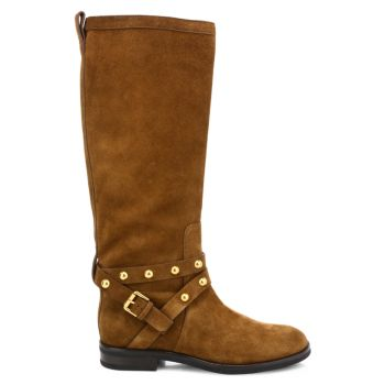 Janis Studded Knee-High Suede Boots See by Chloe