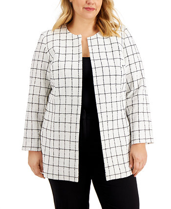 Plus Size Windowpane Jacket Kasper