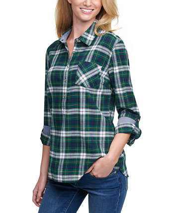 Plaid Cotton Roll-Tab-Sleeve Top Tommy Hilfiger