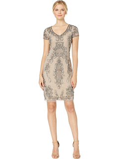 Beaded Mesh Cocktail Dress Adrianna Papell