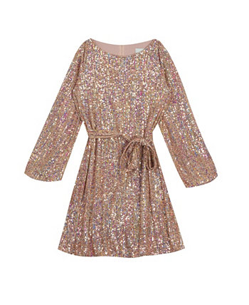 Big Girl Sequin Knit Long Sleeve Dress With Sash Rare Editions