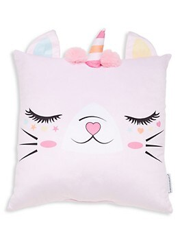 Kid's Caticorn Faux Fur Pom-Pom Pillow Under One Sky