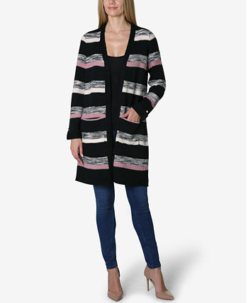 Shawl Collar Stripe Long Sleeve Sweater Cardigan Adrienne Vittadini