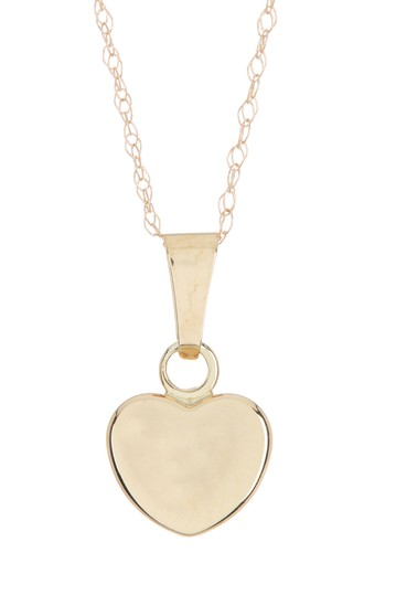 10K Yellow Gold Puffed Heart Pendant Necklace Candela