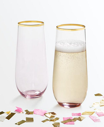 Set of 2 Stemless Flutes, Created for Macy's Martha Stewart Collection