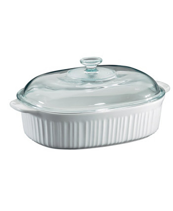 French White 4-Qt. Oval Casserole with Glass Lid Corningware