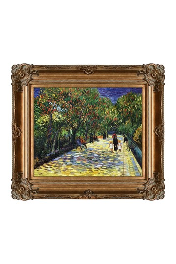 """Avenue with Flowering Chestnut Trees at Arles with Renaissance Bronze Frame , 30"""" x 34"""" No brands"""