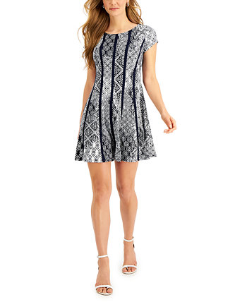 Petite Printed Vertical-Piping Fit & Flare Dress Connected