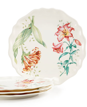 Butterfly Meadow Set of 4 Melamine Salad Plates Lenox