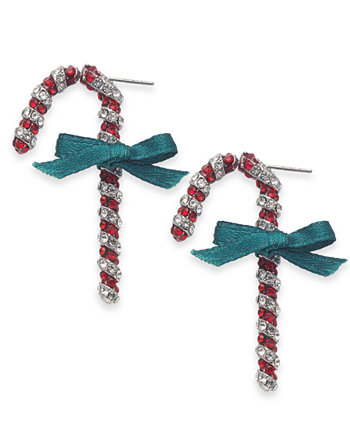 INC Silver-Tone Crystal Candy Cane Drop Earrings, Created for Macy's INC International Concepts