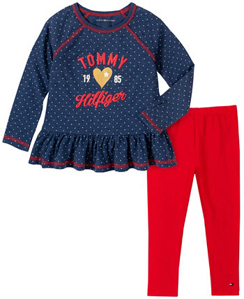 Toddler Girls Two Piece Dot Print Tunic Top with Leggings Set Tommy Hilfiger