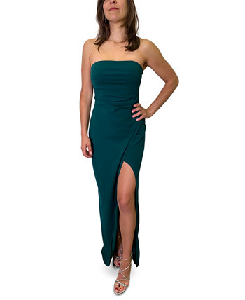 Juniors' Strapless Slit-Hem Dress Emerald Sundae