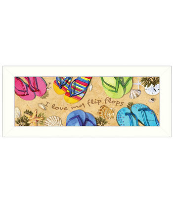 "I Love My Flip Flops By Barb Tourtillotte, Printed Wall Art, Ready to hang, White Frame, 8"" x 20"" Trendy Décor 4U"