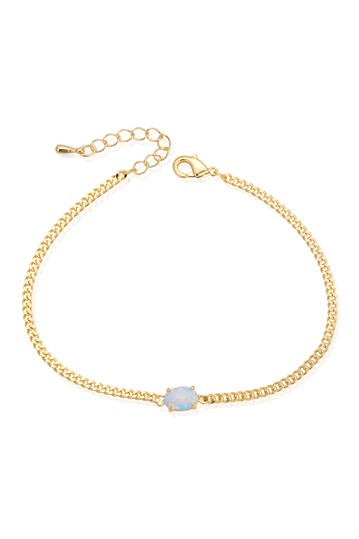 White Opal Chain Link Bracelet Eye Candy Los Angeles