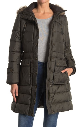 Faux Fur Hooded Belted Puffer Jacket Lucky Brand