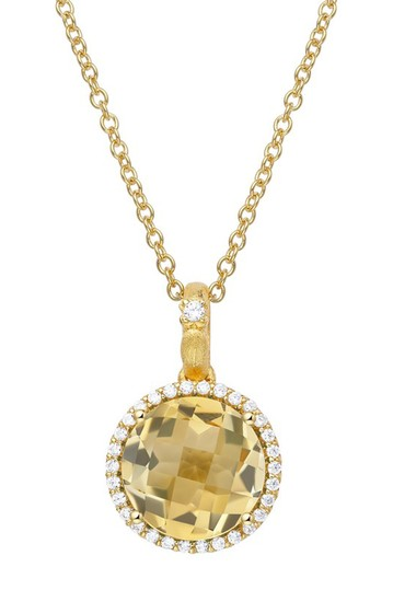 Gold Plated Sterling Silver Round Cut Simulated Diamond Pendant Chain Necklace LaFonn
