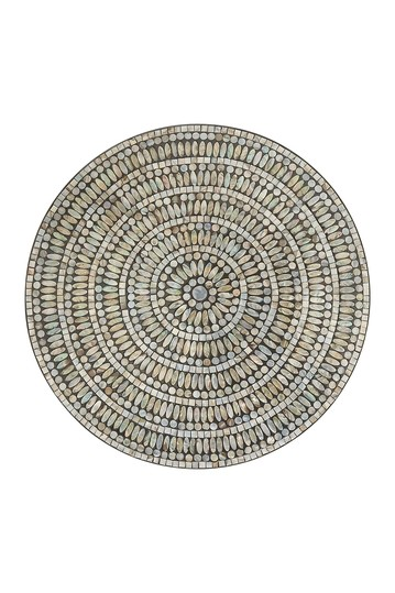 "Round 27"" Wooden Wall Decor With Concentric Mussel Shell Inlay Design Willow Row"