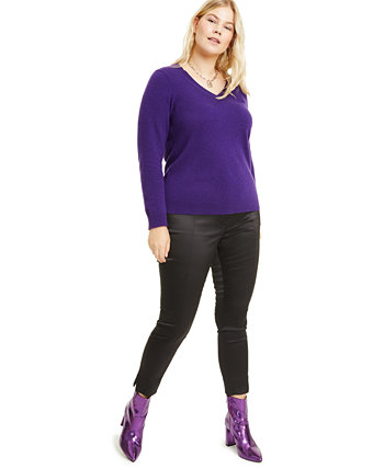 Plus Size Cashmere V-Neck Sweater, Created for Macy's Charter Club