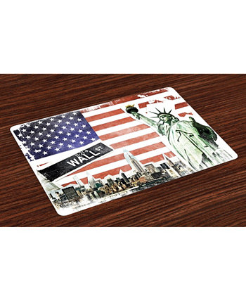 American Flag Place Mats, Set of 4 Ambesonne