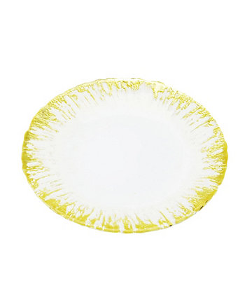 Set of 4 Milky Glass Dinner Plates with Flashy Gold-tone Design Classic Touch