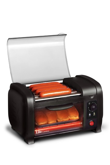 Elite Cuisine Hot Dog Roller and Toaster Oven - Black MAXI-MATIC