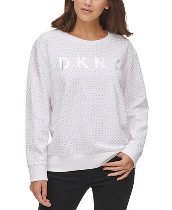 Stud-Detail Cotton Logo Sweatshirt DKNY