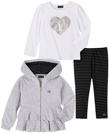 Little Girl Velour Hooded Short Jacket with A Long Sleeve Top and Striped Legging, 3 Piece Set Calvin Klein