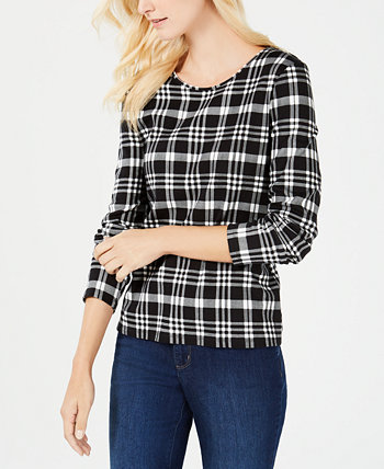 Cotton Plaid Top, Created for Macy's Charter Club