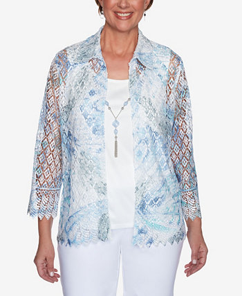 Plus Size French Bistro Butterfly Lace Two for One Top Alfred Dunner