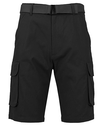 Men's Flat Front Belted Cotton Cargo Shorts Galaxy By Harvic
