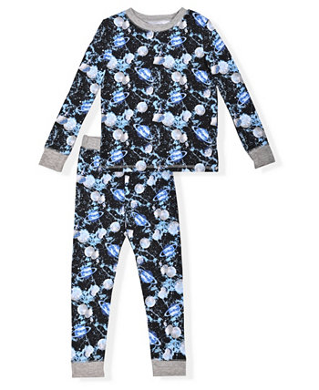 Little Boy's 2 Piece Space Print Soft and Cosy Tight Fit Pajama Set Max & Olivia
