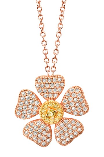 Micro Pave Simulated Diamond Canary & White Flower Pendant Necklace LaFonn