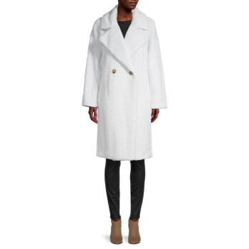 Double-Breasted Faux Fur Coat DKNY