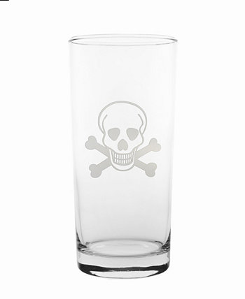 Skull and Cross Bones Cooler Highball 15Oz - Set Of 4 Glasses Rolf Glass
