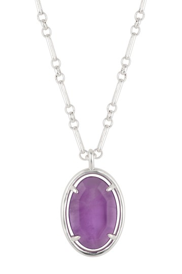 Purple Agate Oval Stone Necklace with Paperlink Chain LA Rocks