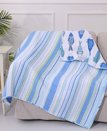 Catalina Fish Print Reversible Quilted Throw Levtex