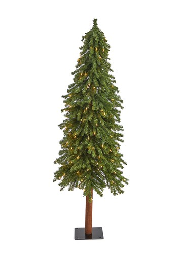 5ft. Grand Alpine Artificial Christmas Tree with 200 Clear Lights on Natural Trunk NEARLY NATURAL