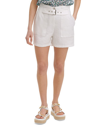 Belted Linen Shorts Karl Lagerfeld Paris
