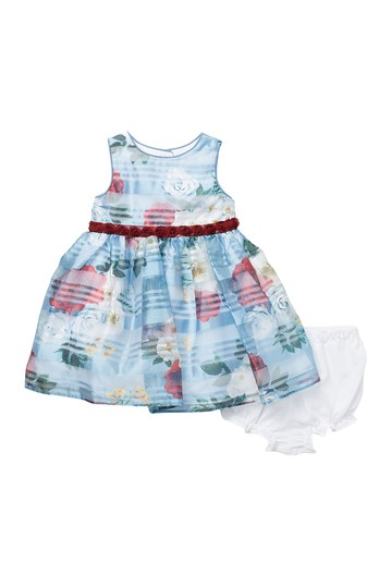 Floral Shadow Stripe & Bloomer Set (Baby 12-24M) Laura Ashley