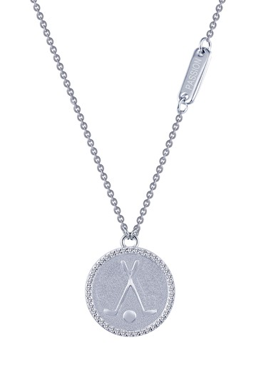 Platinum Plated Sterling Silver Micro Pave Simulated Diamond Sentimentals Golf Pendant Necklace LaFonn