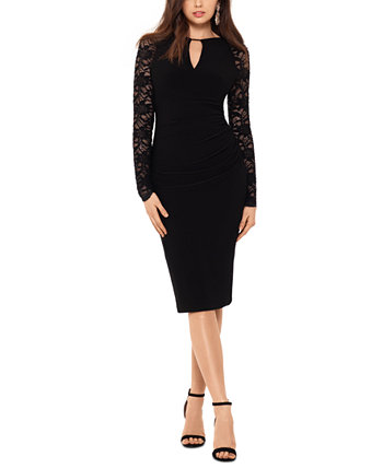 Petite Lace-Sleeve Cocktail Dress Betsy & Adam
