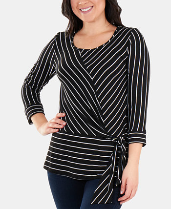 Striped Side-Tie Scoop-Neck Top NY Collection