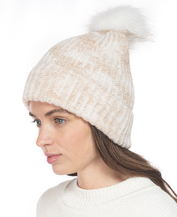 Rib Marled Beanie Hat With Faux-Fur Pom, Created for Macy's Style & Co