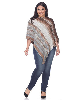 Plus Size Mesila Fringe Poncho White Mark