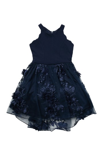 Navy Petal Dress (Little Girls & Big Girls) Trixxi