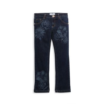 Girl's Floral-Print Jeans Versace