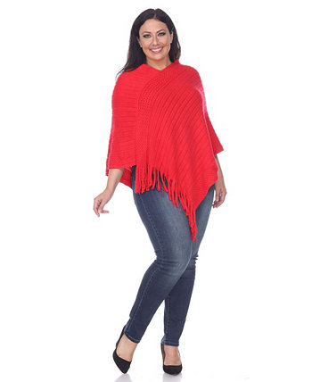 Plus Size Meera Fringe Poncho White Mark