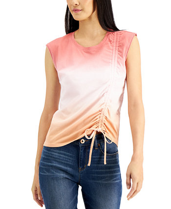 INC Petite Cotton Ombré Ruched Top, Created for Macy's INC International Concepts